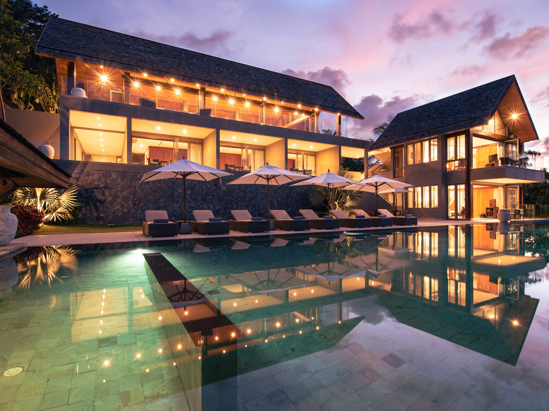 Breathtaking Family Villa-030 Villa Suralai - Villa pool and exterior at sunset.jpg